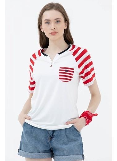 Sementa Marine Cep Detaylı Tshirt   Kırmızı